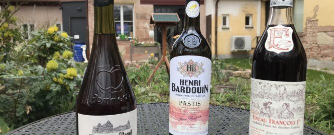 Chateau du Breuil, Pommeau de Normandie; Henri Baudouin, Pastis; Pineau Francois Premiere, Unvergorener Traubensaft, vermischt mit Cognac